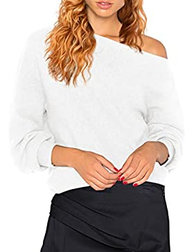 HENCY Mujer Moda Suéter Largo Casual Jersey Prendas de Punto de Cuello Shoulder Off Sweater Barco Batwing Mangas...