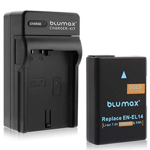 Blumax Akku für Nikon EN-EL14 / EN-EL14a 1100mAh + Ladegerät für Nikon D3100 D3200 D3300 D3400 D5100 D5200 D5300 D5500 D5600 - Coolpix P7100 P7000 P7800