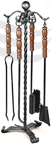 Lienbacher Serviteur de cheminée en fer forgé avec poignées en bois Noir laqué Hauteur 80 cm