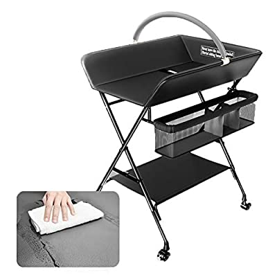 Baby Changing Table with Storage Basket,Baby Bath Tub Unit Station Dresser Foldable Cross Leg Style (Color : Black)
