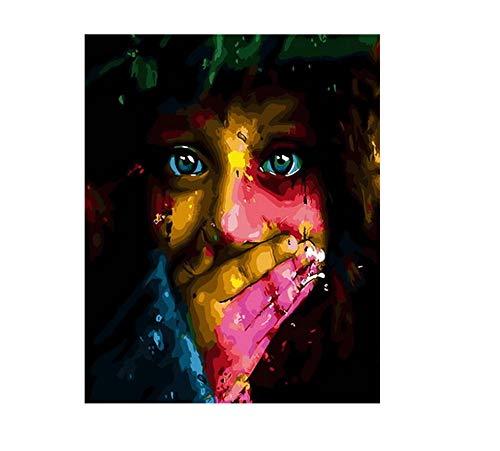 PAINTYTY rahmenlose DIY Ölbild Ölgemälde nach Zahlen Figur Malen nach Zahlen für Wohnkultur 40x50cm buntes Gesicht (Malen Gesicht Giftig Nicht)