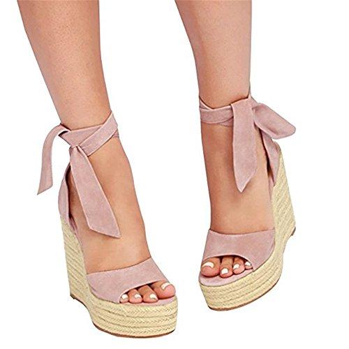 Shelers Damen Schnüren Espadrille Keil Plattform Wildleder Gucken Zehe Riemchen Mitte Hacke Sommer Kleid Sandalen (42 EU, Pink)