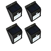 مصباح ليلي بجهاز استشعار حركة يعمل بالطاقة الشمسية، مجموعة من 4 قطع