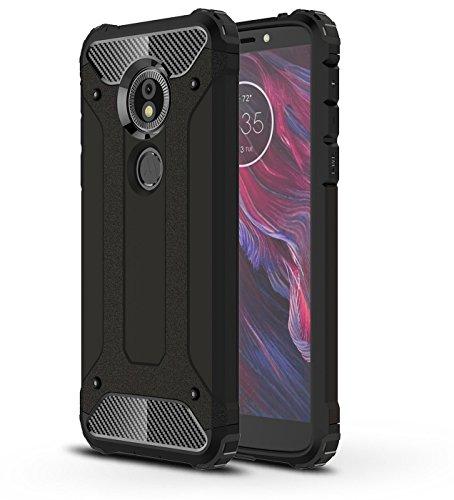 SPAK Motorola Moto E5,Moto G6 Play Hülle,PC + TPU Hybrid Armor Design Dual Layer Schutzhülle Hartback Cover Case für Motorola Moto E5,Moto G6 Play (Schwarz) Hybrid Tpu-hülle
