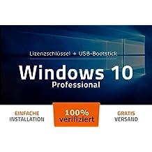 Microsoft® Windows 10 Professional (PRO) - 32 Bit / 64 Bit - Deutsch - Original Lizenzschlüssel - 100% verifiziert - USB-Stick von EXITOSOFT - Bootfähig - für alle Geräte auch ohne CD/DVD Laufwerk