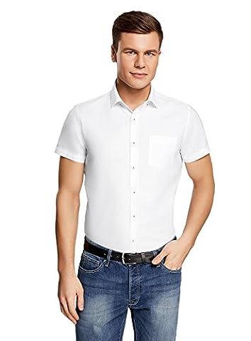 oodji Ultra Herren Kurzarm-Hemd Basic, Weiß, 41cm / DE 50