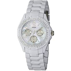 Guess Rock Candy Women's Quartz Watch with Mother of Pearl Dial Analogue Display and White Stainless Steel Strap I16015L1