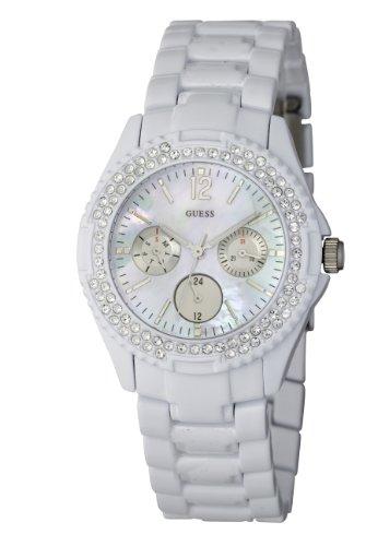Guess Rock Candy I16015L1 - Reloj analógico de cuarzo para mujer, correa de acero inoxidable color rosa (agujas luminiscentes)