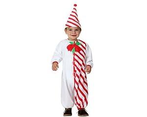 Atosa-17261 Atosa-17261-Disfraz De Bastón De Caramelo niño bebé-Talla Navidad, Color Blanco, 12 a 24 Meses (17261)