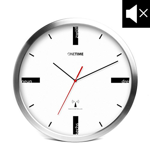 ONETIME MNU 5200 Designer Funkwanduhr aus Aluminium mit LAUTLOSEM SWEEP Uhrwerk - 30,5 cm 12 Zoll (Ø) - kein Ticken
