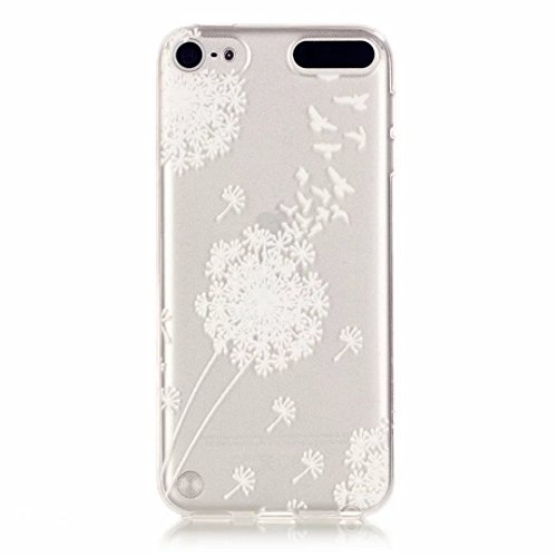 MUTOUREN Handyhülle für iPod Touch 5/Touch 6 TPU Silikon Case Cover Durchsichtig Schutzhülle Tasche Etui Bumper Ultradünne Weich Kratzfeste Soßdämpfende Silikontasche Hülle Weiß - Löwenzahn