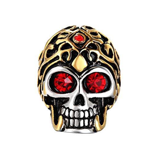 OAKKY Herren Gold Jahrgang Geist Schädel Böser Teufel Ringe Rostfreier Stahl Zirkonia Augen Gotisch Biker Punk Rock Red Größe 60 (19.1)