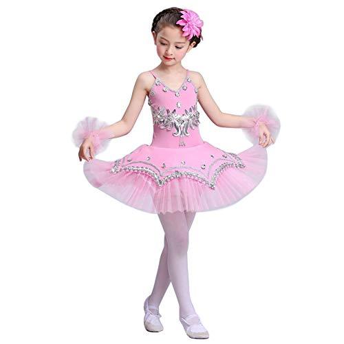uirend Mädchen Pailletten Ballerina Kostüme - Pailletten Ballett Trikot Prinzessin Kostüme Tanz Tutu Kleid Gymnastik Performance Trikot (Flamme Prinzessin Kostüm)