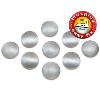 100 Stück Hotfix Metall-Nieten rund, Silber matt (Ø ca. 10 mm), Nailheads zum Aufbügeln