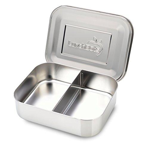 LunchBots Duo Edelstahl Nahrungsmittelbehälter - Zwei Abschnitt Design perfekt für eine Sandwich Hälfte und einer Beilage - Umweltfreundlich, Spülmaschinenfest und BPA frei - Komplett Aus Edelstahl (Protein Plus Erdnussbutter)