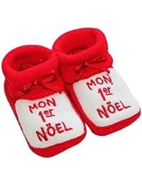 """Noël bébé - Chaussons bébé brodés """"Mon 1er noël"""" 0/3mois rouge"""