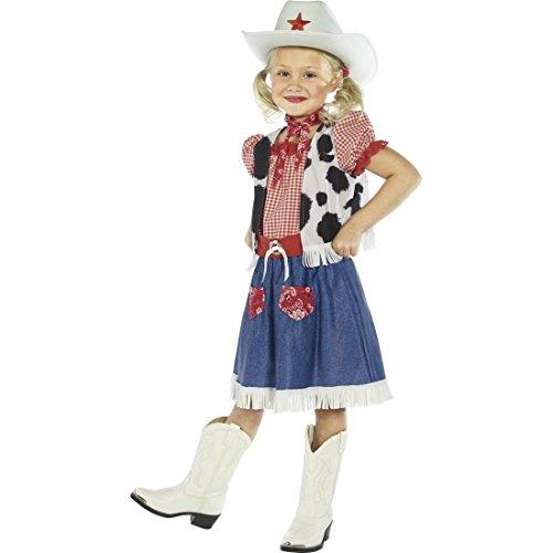 Cowboy Mädchen Kostüm Cowgirl Kostüm Mehrfarbig M 140 cm Western Kleid Wild West Kinderkostüm (Wild Kostüme Cowgirl West)