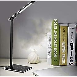 AmityL LED Desk Lamp Mobile Phone Wireless Charging Desk Lamp Lampada di Protezione degli Occhi di Lettura for la Scuola dormitorio, Ufficio Escursioni, Camera da Letto, Nero (Color : Black)