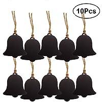 Healifty Dekorative Holz Mini Tafel Zeichen Hängende String Doppelseitige Bell Form für Weihnachten Jäten Preis Tags Dekoration