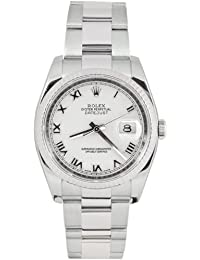 Rolex Mens New Style Heavy Band Stainless Steel Datejust Model 116234 Oyster Band 18K White Gold Fluted Bezel White Roman Dial