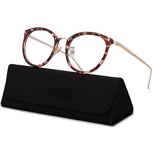 SOJOS Gafas Transparentes Redondas Clasicas Mujer SJ5969 Marco Marrón/Varilla Dorado
