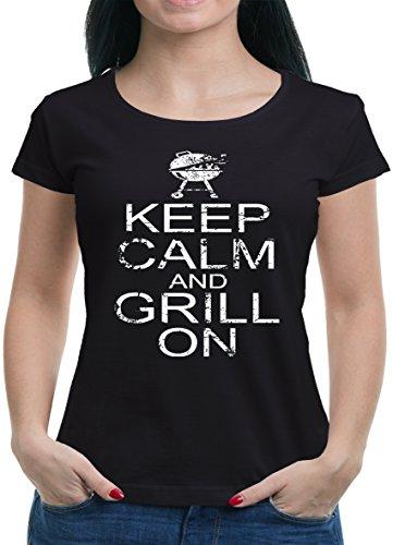 Keep Calm and Grill on T-Shirt Damen XXL Schwarz