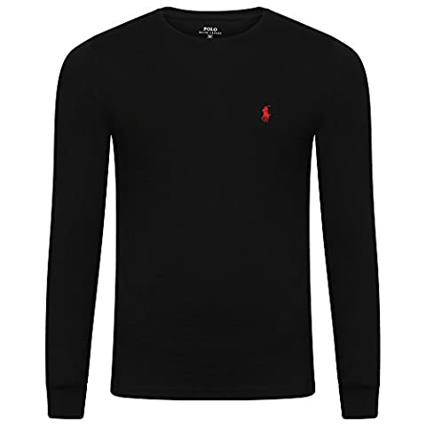 Ralph Lauren Men's Crew T Shirt. Long Sleeve. Small Pony. Custom Fit (M, BLACK)