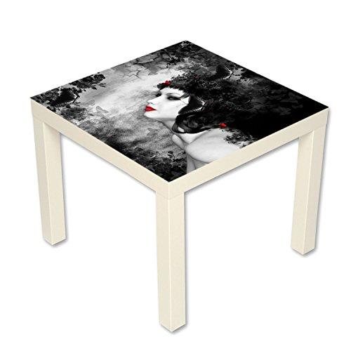 Gothic Nachttisch (Beistelltisch Couchtisch mit Motiv Gothic Black Lady Farbe weiß)