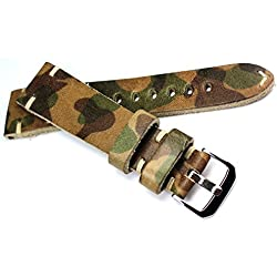 22mm Rio S1931Handmade Leather Hand-Made Retro Look Quality Strap Band White Stitching 22/18mm Camouflage Green Coumuflage Green BS Top Quality