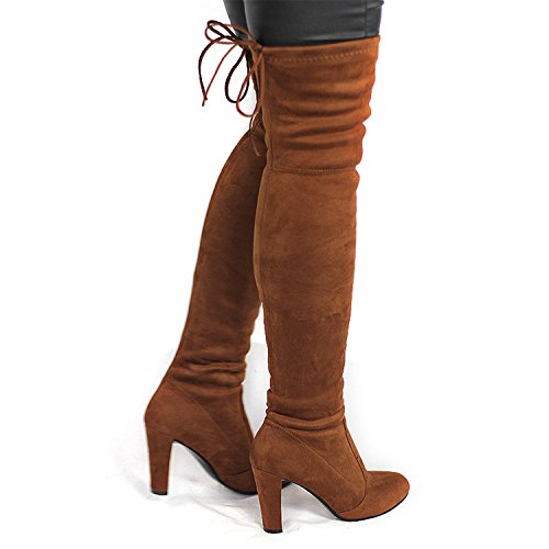 Dormery Women Faux Suede Thigh High Boots Fashion Over The Knee Boot  Stretch Flock Sexy Overknee 878de05c8c7