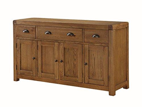 The one oakville rovere massello credenza in legno con 4ante e 3cassetti–credenza in legno quercia–finitura: rovere rustico dark-–sala da pranzo salotto