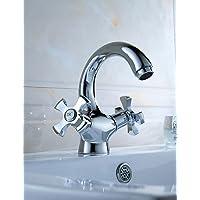 bian-deck montato doppio manico un foro rubinetto del bacino in ottone massiccio finitura cromata lavandino rubinetto miscelatore 1080