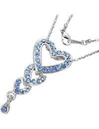 Mode Kristall Liebe Herz Journey Charm Halskette mit Schmucksteinen - Blau
