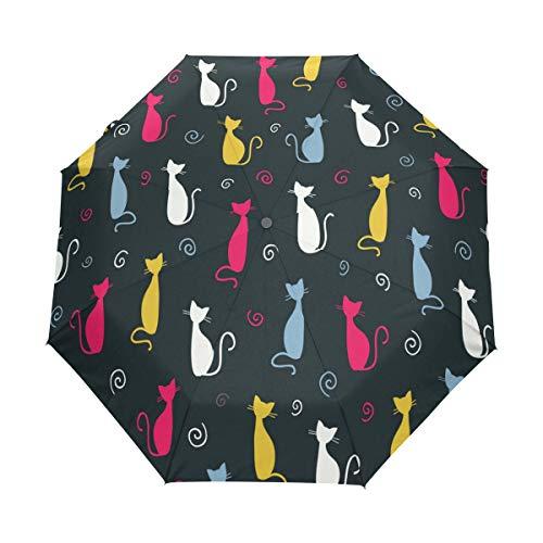 BIGJOKE Paraguas Plegable de Cierre automático con diseño de Gato y Gato, Resistente al Viento, Ligero, antiUV, Protector de Lluvia, Compacto para niños y niñas