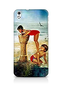 Amez designer printed 3d premium high quality back case cover for HTC Desire 816 (Painting of boy n girl)