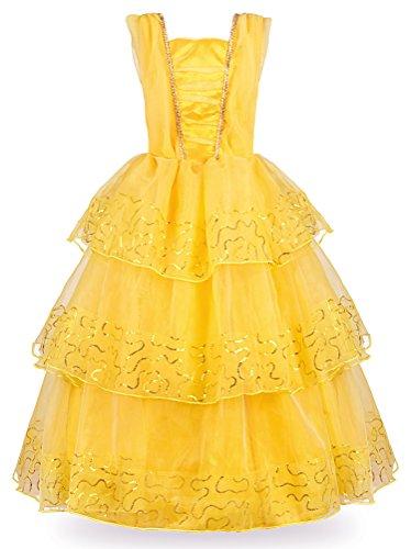 JerrisApparel Prinzessin Belle Deluxe Kugel-Kleid Kostüm für Kleines Mädchen (7-8 Jahre, Gelb)