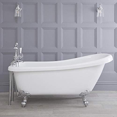Hudson reed legend vasca da bagno freestanding con piedini a zampa di leone bianchi - acrilico bianco - design centro stanza vittoriano - 1700 x 730 x 770mm