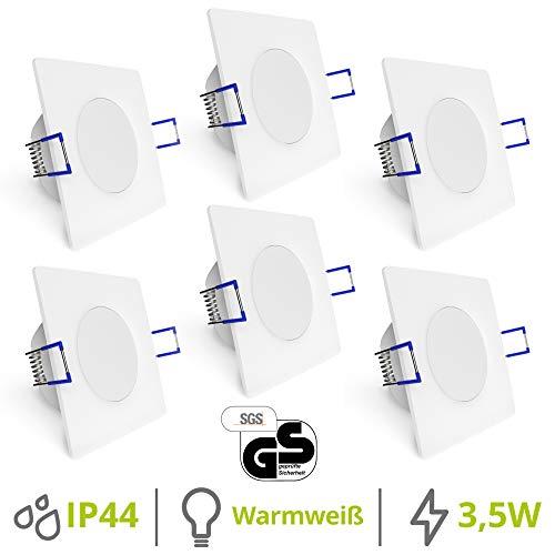 linovum® WEEVO 6er Set Einbaustrahler LED Bad quadratisch - 3,5W warmweiß 230V - IP44 Deckenleuchte extra flacher Einbau 29 mm