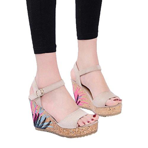 Bohème Femmes Sandales Cheville Sangle Plate-Forme De Paille Wedges Chaussures Talons Hauts Sandale - Forme Bouche Haute Talons Sandales en Cristal Pente Sandales Talon Compensé Tongs