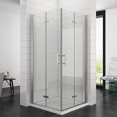 Duschkabine Eckeinstieg 80x90x195cm Falttür 180º Duschabtrennung (6mm ESG Glas)