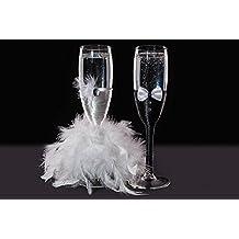 KameaHandCraft - Copas de champán decoradas para novia y novio, vidrio, Transparente, ...