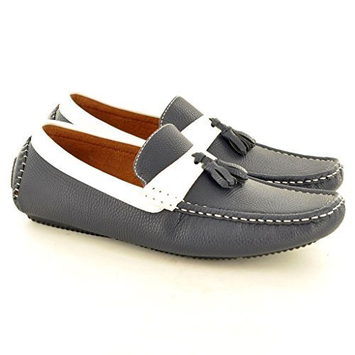 "New Herren Leder ""Look"" Casual Loafer Mokassins Slip on Driving Schuhe mit Quaste 's Blau"