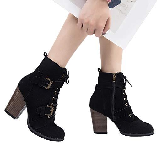 TianWlio Stiefel Frauen Herbst Winter Schuhe Stiefeletten Boots Volltonfarbe High Heel Schnür Wildleder Stiefel Zipper Stiefel Runde Zehe Schuhe Schwarz 37
