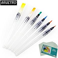 Brustro 3 Flat and Round Aqua Squeeze Leak Proof Watercolour Brush Pen with 9 Sheets Paper Cotton CP 300 GSM, 5x7-inch (Assorted) - Set of 6