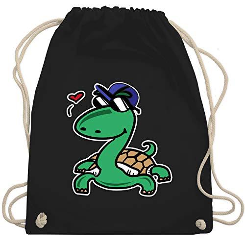 Tiermotive Kind - Schildkröte mit Sonnenbrille - Unisize - Schwarz - WM110 - Turnbeutel & Gym Bag