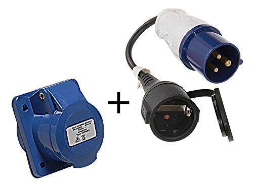 Preisvergleich Produktbild 2tlg Set CEE Adapter auf Schuko + CEE Steckdose 16A 230V 3-polig mit Spritzwasserschutz