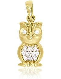 MyGold Eule-Anhänger (ohne Kette) Gelbgold 333 Gold (8 Karat) mattiert mit Steinen 12 Zirkonia 18mm x 7mm Goldanhänger Goldkette Halskette Kettenanhänger Alice V0012443