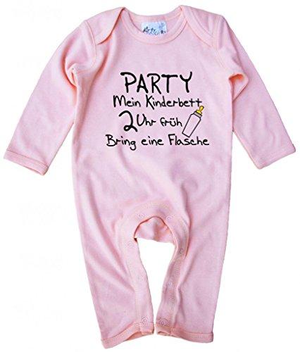 Dirty Fingers, Party Mein Kinderbett 2 Uhr früh, Baby Strampler, 3-6 m, Rosa