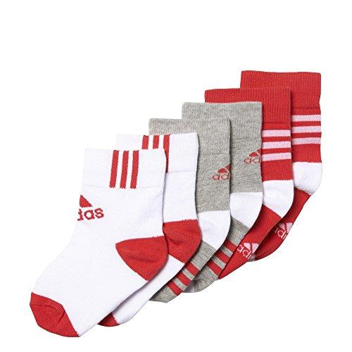 adidas Mädchen Knöchelsocken, 3 Paar Socken, Medium Grey Heather/White/Joy, 35-38 (Kinder Adidas Socken)