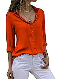 b194cede7257 Cassiecy Womens Casual Chiffon V Neck Long Sleeve Button Down Blouse Solid  Color Shirts Tops